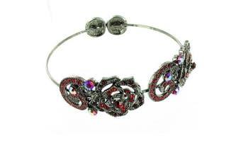 Red on Antique Silver Flower Armband / Bracelet