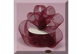 1ea - 2.2cm X 25yd Wine Sheer Organza Wired Ribbon