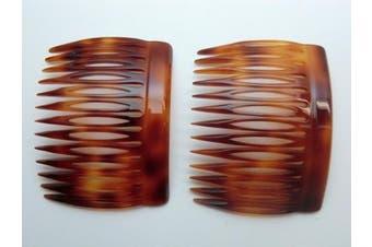 (Tortoise) - Charles J. Wahba Side Comb (Paired) - 13 Teeth (Mock Tortoise Colour) Handmade in France