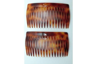 (Tortoise) - Charles J. Wahba Side Comb (Paired) - 17 Teeth (Mock Tortoise Colour) Handmade in France