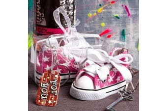 FC6136 Oh-So-Cute Pink Star Print Baby Sneaker Key Chain Wedding Baby Show