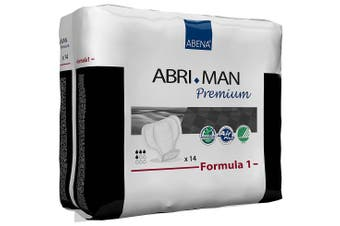 (14 pieces) - Abena Abri-Man Formula 1 Premium, Male Anatomically Shaped Pad, 450ml