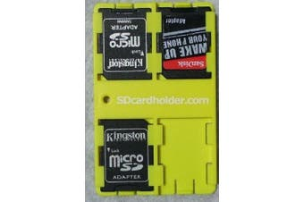 SD Card Organiser Credit Card Size Secure Digital Memory Card Case (Yellow)!