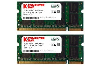 (4GB (2 x 2GB)) - Komputerbay 4GB Kit (2GBx2) DDR2 800MHz (PC2-6400) CL6 SODIMM 200-Pin 1.8v Notebook Laptop Memory Modules with Lifetime Warranty