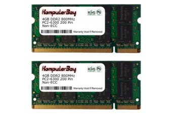 (8GB (2 x 4GB)) - Komputerbay 8 GB (2 x 4GB) PC2-6400 DDR2-800 SoDIMM Dual Channel Laptop Memory Kit
