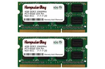 (2X4GB) - Komputerbay 8GB (2x 4GB) DDR3 SODIMM (204 pin) 1066Mhz PC3-8500 (7-7-7-20) Laptop Notebook Memory for Apple Macbook Pro