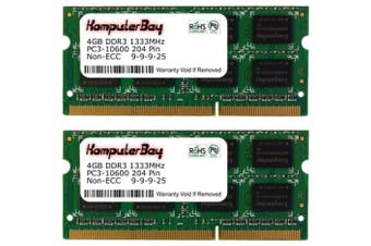 (8GB (2x 4GB) for Apple iMac) - Komputerbay 8GB (2x 4GB) DDR3 SODIMM (204 pin) 1333Mhz PC3-10600 (9-9-9-25) Laptop Notebook Memory for Apple iMac