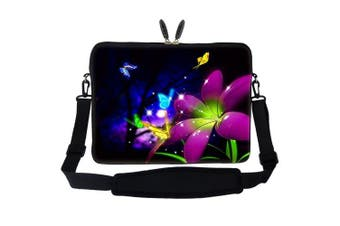 Meffort Inc 15 40cm Laptop Sleeve Bag Carrying Case with Hidden Handle and Adjustable Shoulder Strap - Blue Purple Flower Butterfly Design