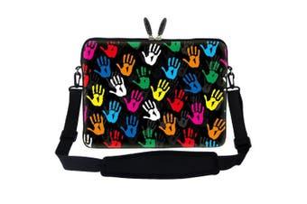 Meffort Inc 17 44cm Neoprene Laptop Sleeve Bag Carrying Case with Hidden Handle and Adjustable Shoulder Strap - Loving Hand Design