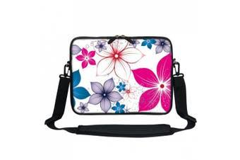 (Flower Leaves) - Meffort Inc 13 34cm Neoprene Laptop Carrying Case Sleeve Bag with Hidden Handle and Adjustable Shoulder Strap - Flower Leaves Design