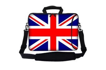 Meffort Inc 17 44cm Neoprene Laptop Bag Sleeve with Extra Side Pocket, Soft Carrying Handle & Removable Shoulder Strap for 41cm to 44cm Size Notebook Computer - England Flag Design