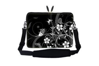 Meffort Inc 15 40cm Laptop Sleeve Bag Carrying Case with Hidden Handle and Adjustable Shoulder Strap - Black White Flower Butterfly Design