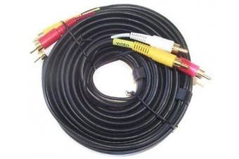 Black Point Products BA-126 Gold 7.6m Stereo Dubbing Cable with Triple RCA Plugs