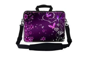 (Purple Heart Butterfly) - Meffort Inc 17 44cm Neoprene Laptop Bag Sleeve with Extra Side Pocket, Soft Carrying Handle & Removable Shoulder Strap for 41cm to 44cm Size Notebook Computer - Heart Butterfly Design