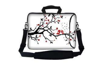 (Loving Bird) - Meffort Inc 15 40cm Neoprene Laptop Bag Sleeve with Extra Side Pocket, Soft Carrying Handle & Removable Shoulder Strap for 36cm to 40cm Size Notebook Computer - Loving Bird Design