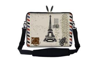 Meffort Inc 17 44cm Neoprene Laptop Sleeve Bag Carrying Case with Hidden Handle and Adjustable Shoulder Strap - Paris Design