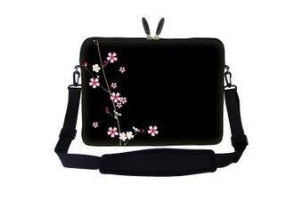 (Plum Blossoms Design) - Meffort Inc 15 40cm Neoprene Laptop Sleeve Bag Carrying Case with Hidden Handle and Adjustable Shoulder Strap - Plum Blossoms Design