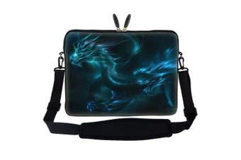 Meffort Inc 17 44cm Laptop Sleeve Bag Carrying Case with Hidden Handle and Adjustable Shoulder Strap - Blue Dragon Design