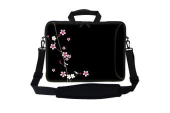 (Plum Blossoms) - Meffort Inc 15 40cm Neoprene Laptop Bag Sleeve with Extra Side Pocket, Soft Carrying Handle & Removable Shoulder Strap for 36cm to 40cm Size Notebook Computer - Plum Blossoms Design