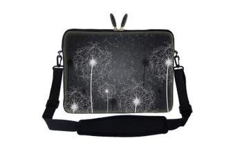 Meffort Inc 15 40cm Neoprene Laptop Sleeve Bag Carrying Case with Hidden Handle and Adjustable Shoulder Strap - Black White Dandelion Design