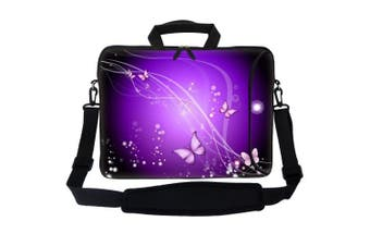 (Purple Swirl Butterfly) - Meffort Inc 15 40cm Neoprene Laptop Bag Sleeve with Extra Side Pocket, Soft Carrying Handle & Removable Shoulder Strap for 36cm to 40cm Size Notebook Computer - Purple Swirl Butterfly Design