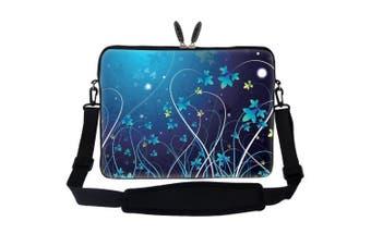 (Blue Swirl Design) - Neoprene Laptop Sleeve Bag with Hidden Handle & Adjustable Shoulder Strap for 17 44cm Notebook - Blue Swirl Flower Design