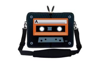 Meffort Inc 15 40cm Neoprene Laptop Sleeve Bag Carrying Case with Hidden Handle and Adjustable Shoulder Strap - Cassette Tape Design