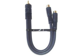 (Blue) - Black Point Products BA-140 Gold 15cm RCA Plug to 2-RCA Jacks Python Cable, Blue