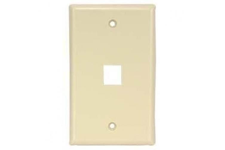 (Single, Ivory) - InstallerParts 1Port Keystone Wallplate Ivory Smooth Face