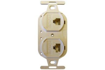 (Electric Ivory) - Allen Tel Products AT107BFD-52 2 Ports, 1-6 Conductor, 6 Position, 1-8 Conductor, 8 Position Keyed Flush Mount Duplex IDC Outlet Jack, Electric Ivory