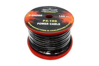 Absolute P4100BK 4 Gauge 30m Spool Power Wire Cable (Black)