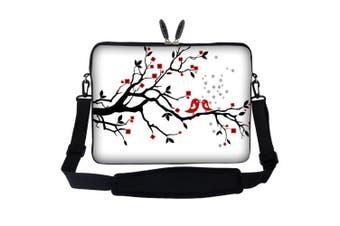 Meffort Inc 15 40cm Laptop Sleeve Bag Carrying Case with Hidden Handle and Adjustable Shoulder Strap - Loving Bird Design