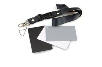 DSLRKIT 3in1 Digital Grey Card White Black 18% Grey Colour White Balance Strap