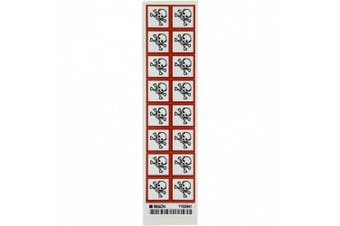 """Brady 118846 Vinyl GHS Severe Toxic Picto Labels , Black/Red On White, 2.5cm Height x 2.5cm Width, Pictogram """"Severe Toxic"""" (16 Labels, 1 Card per Package)"""