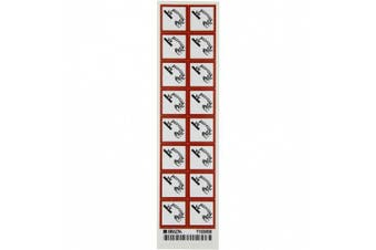 """Brady 118840 Vinyl GHS Corrosive Picto Labels , Black/Red On White, 2.5cm Height x 2.5cm Width, Pictogram """"Corrosive"""" (16 Labels, 1 Card per Package)"""