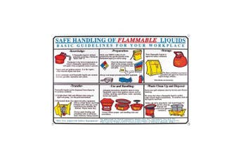 """Brady PS131E Prinzing 60cm Width x 46cm Height, Laminated Paper, Black, Red, Blue, Yellow on White Flammable Liquid Safety Poster, Legend """"Safe Handling Of Flammable Liquids (Etc.)"""""""