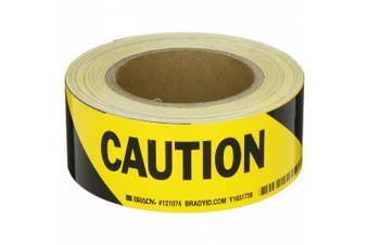 "Brady 121074, Bradystripes Temporary Sign Tape, 5.1cm Width, Black on Yellow, Legend ""Caution"" (1 per Order)"
