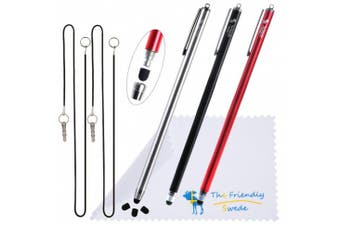 (Red + Black + Silver) - The Friendly Swede Extra Long - Bundle of 3 Premium XXL Thin-Tip High Precision Universal Capacitive Stylus Pens 2.2m x 0m + Extra 3 Replaceable Tips + 2.2m x 0m' Elastic Tether Lanyards + Cleaning Cloth in Retail Packaging (Red