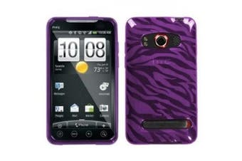 (Purple Zebra) - Asmyna HTCEVO4GCASKCA085 Slim and Durable Protective Cover for HTC EVO 4G - 1 Pack - Retail Packaging - Purple Zebra