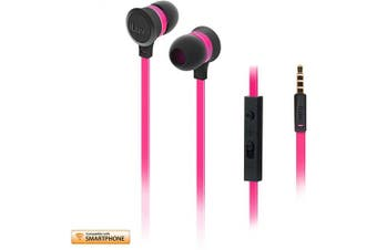 (Android, Baby Pink Neon) - iLuv In-Ear High Performance Stereo Earphones with Mic for Hands Free-Call and Remote for iPhone, iPad, iPod, SAMSUNG, LG, Google Next, Others phones, tablets and MP3(Pink Neon)