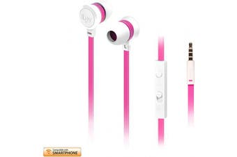 (Android, White Pink Neon) - iLuv In-Ear High Performance Stereo Earphones with Mic for Hands-Free Call and Remote for iPhone, iPad, iPod, SAMSUNG, LG, Google Next, Others phones, tablets and MP3 (White/Pink)