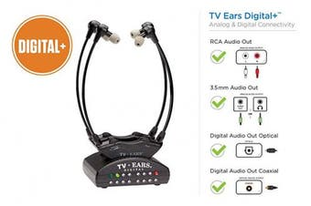 TV Ears Dual Digital Wireless Headset System, Use 2 headsets at same time, connects to both Digital and Analogue TVs, TV Hearing Aid Device for Seniors and Hard of Hearing-11841