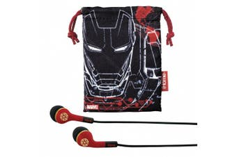 (Iron Man) - eKids Marvel Avengers Iron Man Noise Isolating Earphones with Travel Pouch, by iHome - MR-M152