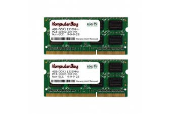 (8GB (2x 4GB) for Apple Macbook Pro) - Komputerbay 8GB (2x 4GB) DDR3 SODIMM (204 pin) 1333Mhz PC3-10600 (9-9-9-25) Laptop Notebook Memory for Apple Macbook Pro