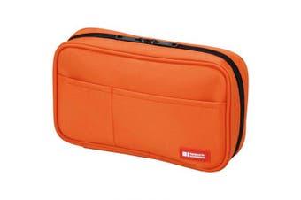 (Standard: 7.9 x 5.1cm  x 12cm , Orange) - Lihit Lab Teffa Pen Case - Book Style - Orange (japan import)