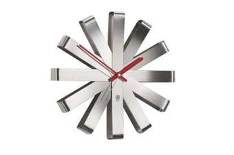 (Stole) - Umbra Ribbon Brushed Steel Wall Clock, 30.48 cm- Nickel