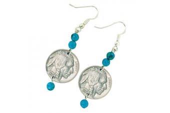 American Coin Treasures Buffalo Nickel Turquoise Earrings