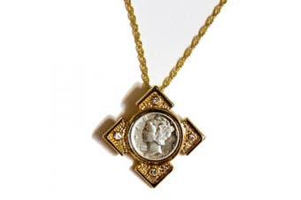 Mercury Dime Goldtone Art Deco Pendant