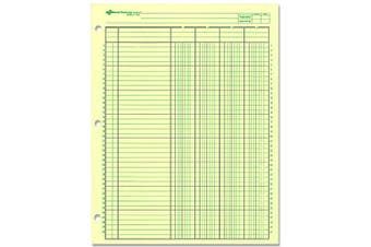 (1 Pack) - NATIONAL Analysis Pad, 4 Columns, Green Paper, 28cm x 22cm 50 Sheets (45604)