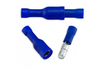 50pcs Premium Brass 14-16 (BLUE) Gauge Male-Female Solderless Crimp Bullet Plug Connectors